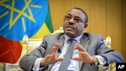 FILE - Ethiopia's Prime Minister Hailemariam Desalegn speaks to The Associated Press at his office in the capital Addis Ababa, Ethiopia, March 17, 2016.