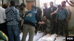 Thi thể các nạn nhân vụ thảm sát hôm thứ Sáu tại Houla