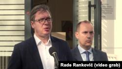 Predsednik Srbije Aleksandar Vučić prilikom današnjeg obilaska KCS, Foto: Glas Amerike