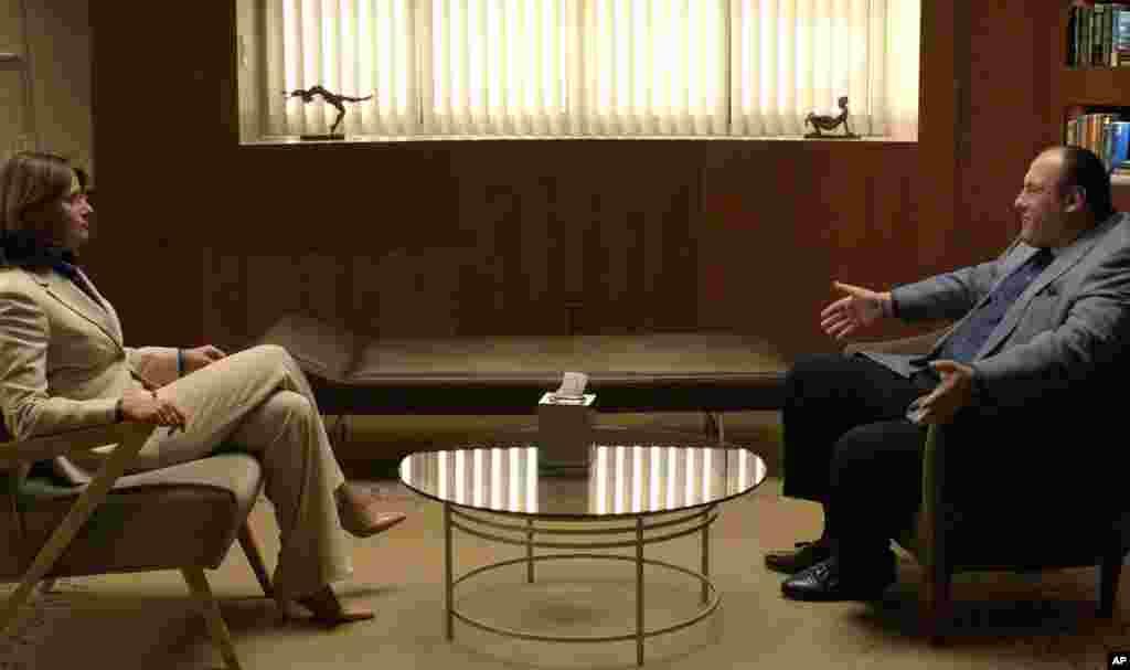 Gandolfini junto a su compañera de reparto Lorrain Bracco que interpretaba el papel de psicóloga.