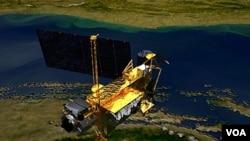 Gambar ilustrasi satelit penelitian atmosfir milik NASA yang akan jatuh ke bumi, Jumat (23/9).