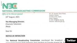 Wasikar da Hukumar NBC ta mikawa gidan talabijan na Channels kan sabawa ka'idar dokar yada labarai na kasar.