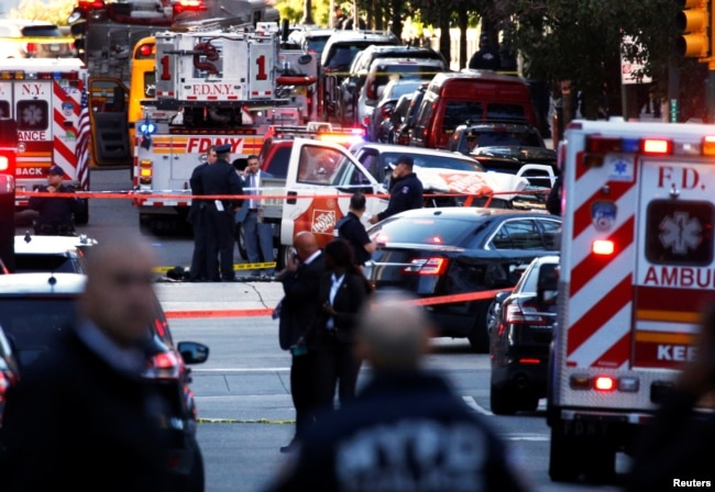 A Home Depot truck which struck down multiple people on a bike path, killing several and injuring numerous others is seen as New York City first responders are at the crime scene in lower Manhattan in New York, NY, Oct. 31, 2017.