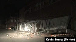 Damage from an earthquake in Cushing, Okla., is seen in this photo posted to Twitter by Kevin Stump.