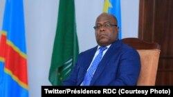 Le président Félix Tshisekedi lors de l'échange des voeux avec le corps diplomatique à Kinshasa, RDC, 15 février 2019. (Twitter/Présidence RDC)