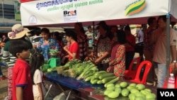 The community market sells organic vegetables, Kampong Speu province, Cambodia, February 20 2016. (Hul Reaksmey/VOA Khmer)