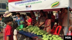 A community market set up for selling organic products was put into operation Feb. 20, 2016, in Kompong Speu province's Chbar Mon city. (Photo - Hul Reaksmey/VOA Khmer)
