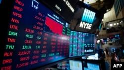 Sebuah monitor menunjukkan berbagai indeks saham di New York Stock Exchange (NYSE), Wall Street, New York (foto: ilustrasi).