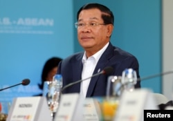 FILE - Hun Sen, Prime Minister of Cambodia listens to U.S. President Barack Obama speak during a 10-nation Association of Southeast Asian Nations (ASEAN) summit in Rancho Mirage, California, Feb. 15, 2016.