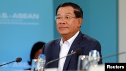 FILE - Cambodia's Hun Sen, pictured at an ASEAN summit in California in February 2016, says he makes just $13,800 a year as prime minister and head of the Cambodian People's Party.