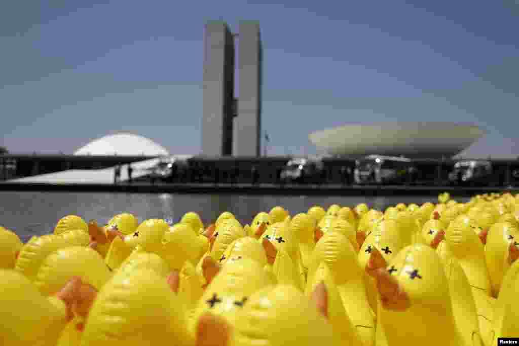 ទារកជ័រអណ្តែតទឹកត្រូវបានឃើញនៅខាងមុខសភាជាតិនៅអំឡុងពេលមានបាតុកម្មប្រឆាំងការបង្កើនពន្ធដារនៅក្រុង Brasilia ប្រទេសប្រេស៊ីល។