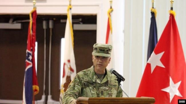 美國陸軍中將中曾根2017年8月出席一場活動(美國陸軍照片)