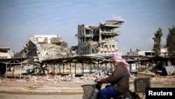 Un bâtiment de l'Université de Mossoul détruit lors de la bataille avec des militants du groupe Etat islamique, à Mossoul, en Irak, 30 janvier 2017.