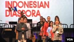 Pembacaan Deklarasi Diaspora Indonesia pada penutupan Kongres Diaspora Indonesia di Los Angeles, negara bagian California, AS (8/7).