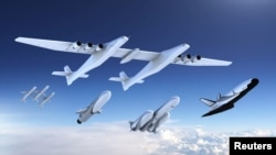A new family of launch vehicles including air-launch system, medium-lift rockets and a reusable space cargo plane, are seen in this artist's rendering image released by Stratolaunch Systems Corp, the space company of billionaire Microsoft co-founder Paul Allen, based in Seattle, Washington, on Aug. 20, 2018.
