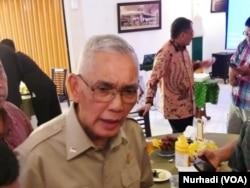 Mantan Wakil Presiden Try Sutrisno. (Foto: VOA/Nurhadi)