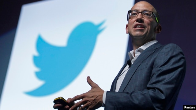 Twitter CEO Dick Costolo gestures during a conference at the Cannes Lions in Cannes, France, June 20, 2012.