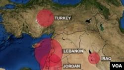Mapa prikazuje izbegličku populaciju iz Sirije.