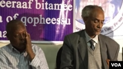 Merara Gudina and Beyene Petros of Medrek at a Press Conference in Addis Ababa May 2015