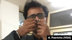 Prateek Sharma, who heads the New Delhi startup that produces the nose filters meant to restrict air pollution, says the Nasofilter is comfortable to wear in the nose.