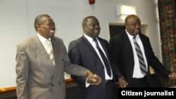 MKD leader Simba Makoni, MDC-T president Morgan Tsvangirai and Zanu Ndonga chairman Reketai Semwayo announcing their election coalition.