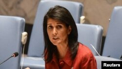 FILE - U.S. Ambassador to the United Nations Nikki Haley speaks at a Security Council meeting at U.N. headquarters in New York, April 7, 2017.
