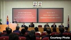 지난 달 31일 차히야 엘벡도르지 몽골 대통령이 평양 김일성종합대학에서 자유를 주제로 연설하고 있다. 사진=몽골 대통령실 제공