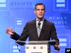 "FILE - Los Angeles Mayor Eric Garcetti, shown delivering a speech in his city in March 2016, says President-elect Donald Trump has been ""very supportive of our efforts to invest in infrastructure."""