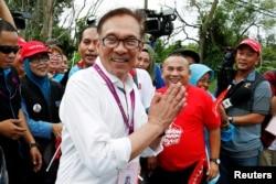 រូបឯកសារ៖ លោក Anwar Ibrahim ជាប្រធានគណបក្សមួយរបស់ម៉ាឡេស៊ីឈ្មោះ People's Justice Party។