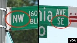 华盛顿城市路标显示象限区
