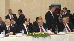 مسعود بارزانی، رییس دولت منطقه ای کردستان عراق روز دوشنبه در اربیل به نوری المالکی، نخست وزیر عراق و ایاد علاوی نخست وزیر سابق، خوشامد گفت