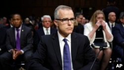 FILE - Acting FBI Director Andrew McCabe testifies on Capitol Hill in Washington, May 11, 2017. He's under consideration to become James Comey's replacement as director.