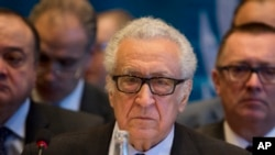 The U.N. Special Representative Lakhdar Brahimi attends the start of the Syrian peace talks in Montreux, Switzerland, Jan. 22, 2014.