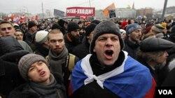 Los organizadores de la protesta dicen que en Moscú hubo unos 50 mil manifestantes.