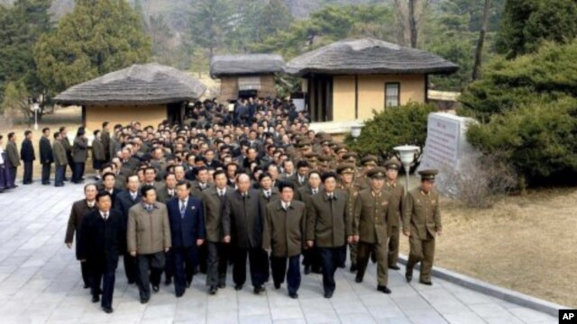 The delegates to the fourth Conference of the Workers' Party of Korea visit Mangyongdae, the birthplace of North Korea's founder Kim Il-Sung, in Pyongyang April 10, 2012 in this picture released by the North's KCNA, April 11, 2012.