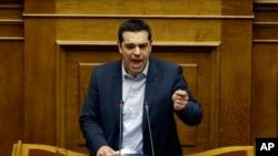 希臘總理齊普拉斯星期日在國會發表演說
