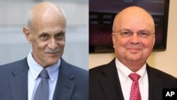 Michael Chertoff, left, the former Secretary of Homeland Security, and Michael Hayden, former director of the Central Intelligence Agency and National Security Agency, were among 40 former Republican national security advisers to signed a letter stating ""