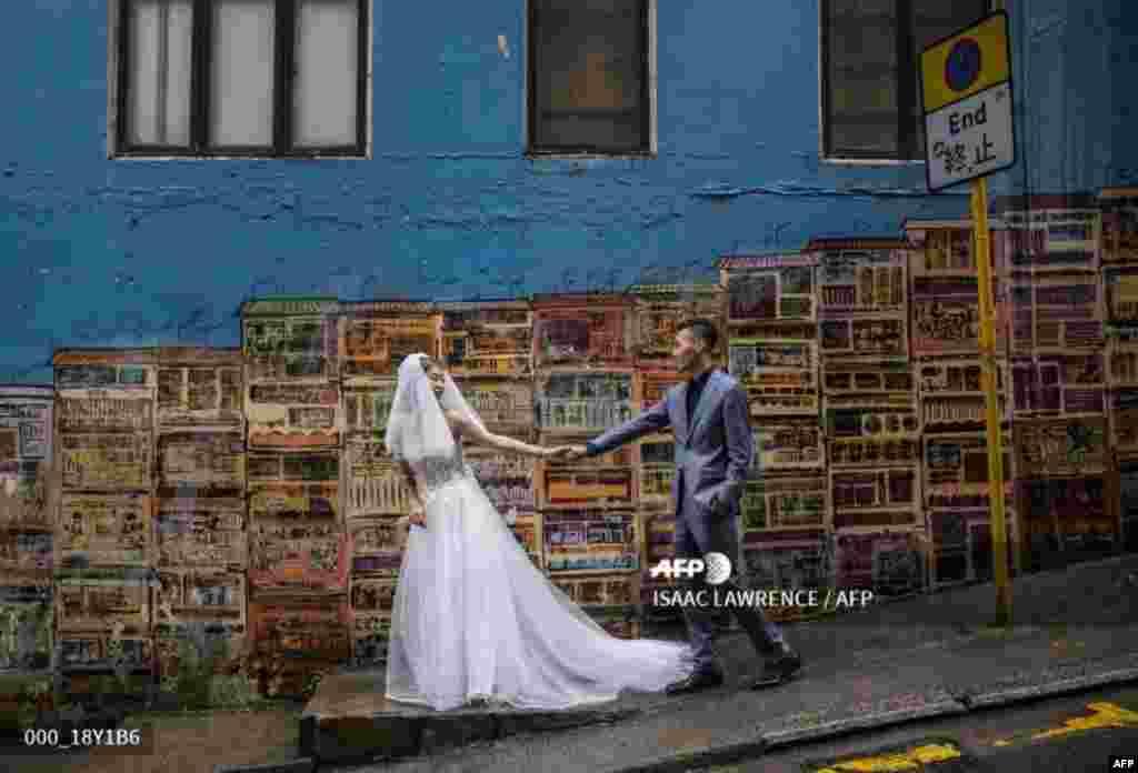 عکس از یک عروس و داماد در هنگ کنگ