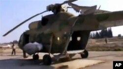 28일 다마스쿠스 인근의 반군 공군기지에 억류된 정부군 헬리콥터. (자료사진)