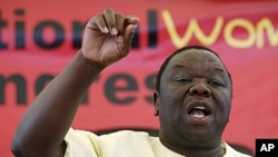 Zimbabwe's Prime Minister and opposition Movement for Democratic Change leader Morgan Tsvangirai addresses delegates at the party's National Congress in Bulawayo, April 28, 2011