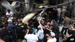 Дамаск, Сирия. Последствия взрыва.