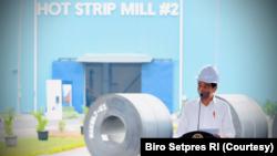 Presiden Jokowi Meresmikan Pabrik Baja Tercanggih ke-2 di Dunia milik PT Krakatau Steel (Persero) Tbk di Cilegon, Banten, Selasa (21/9). (Courtesy/Biro Setpres)