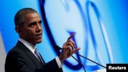 Presiden AS Barack Obama dalam konferensi pers di akhir KTT G-20 di Antalya, Turki (16/11). (Reuters/Jonathan Ernst)