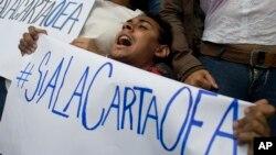 Un miembro de la oposición se manifiesta en las afueras del edificio de la OEA en Washington.