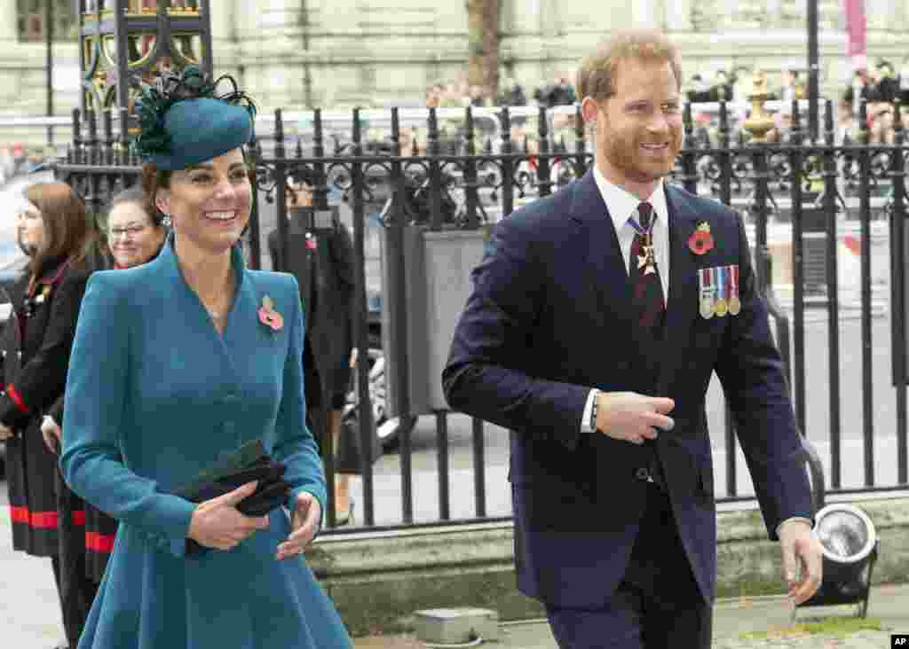 Catherine, the Duchess of Cambridge, and Prince Harry attend the ANZAC Dawn Service held at Westminster Abbey, London.