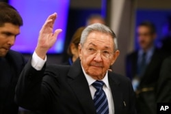 FILE - Cuba's President Raul Castro arrives for the 70th session of the United Nations General Assembly at U.N. headquarters in New York, Sept. 28, 2015.