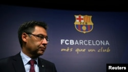 Le président du FC Barcelone, Josep Maria Bartomeu, lors d'une conférence de presse à Barcelone, le 29 mai 2017.