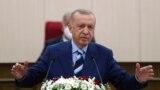 FILE - Turkey's President Recep Tayyip Erdogan speaks in Nicosia, Cyprus, July 19, 2021.