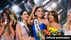 Miss Universe (၂၀၁၅) ဆုရွင္နဲ႔ ျမန္မာအလွမယ္ ေမဘရဏီေသာ္။