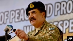 FILE - In this Tuesday, April 12, 2016 file photo, Pakistan's Army Chief General Raheel Sharif addresses a seminar in Gwadar, Pakistan. Pakistan's powerful army chief lashed out at India Thursday, Oct. 6, 2016 warning that any act of aggression from New Delhi would not go unpunished as tensions spiked between the two countries over the divided region of Kashmir.